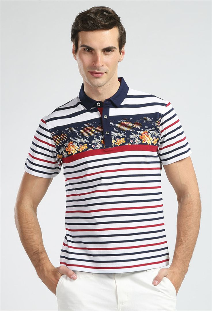 The 2016 summer men\u0027s new striped wash-and-wear T-shirt � Summer MenPolo ...