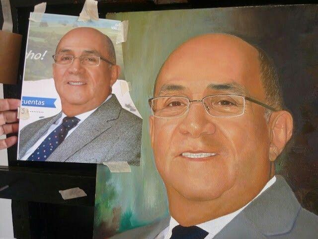 Retrato al oleo,40x50, gobernador del Valle, Ubeimar Delgado.