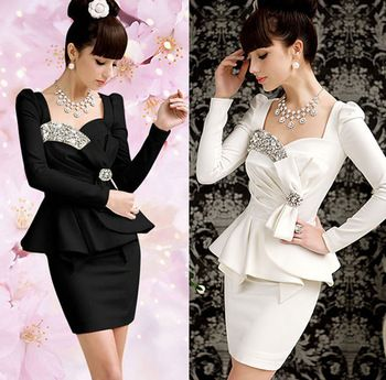 Aliexpress.com : Buy Elegent Women Girls Slim Formal Diamond Bow Peplum Long Puff Sleeve Party Dress from Reliable party tube dress suppliers on Fashion Hobby