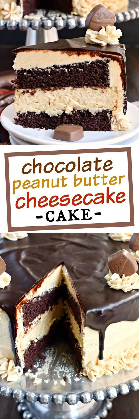 This stunning Chocolate Peanut Butter Cheesecake Cake has layers of homemade chocolate cake and peanut butter cheesecake. Topped with a creamy peanut butter frosting and dark chocolate ganache, this cake is sure to satisfy that sweet tooth! @DoveChocBrand #sponsored