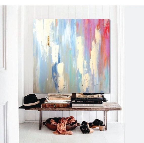 "48""x48"" Large Canvas Art, Amanda Faubus Gold Leaf Original Painting, Abstract, pink, creme, white, grey, blue, Canvas Art, Urban, Loft, Boho"