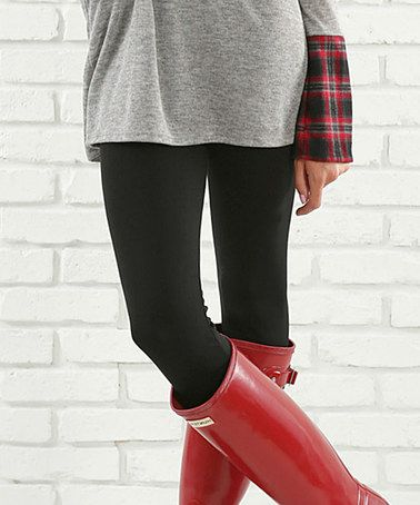 Another great find on #zulily! Black Tummy-Control Fleece-Lined Leggings by Contagious #zulilyfinds