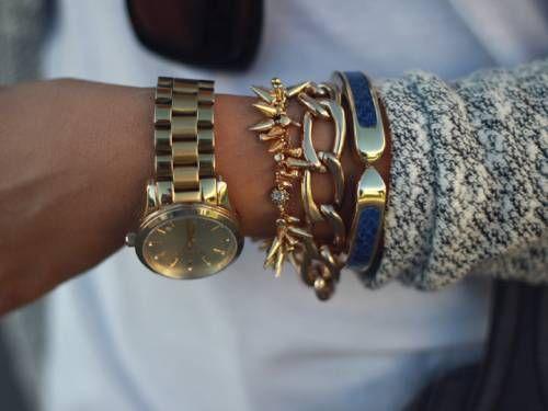 gold watch and bracelets! amazing !