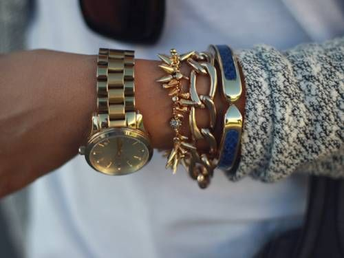 gold watch and bracelets! amazing !