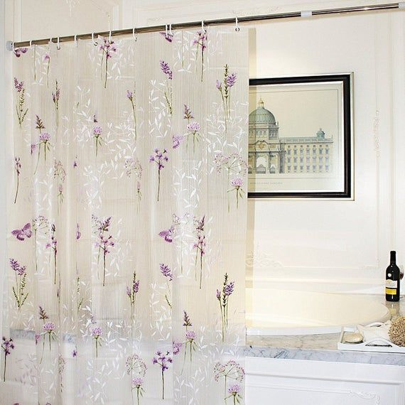 Purple Flower With Butterfly Bathroom Shower Curtainfloral Etsy