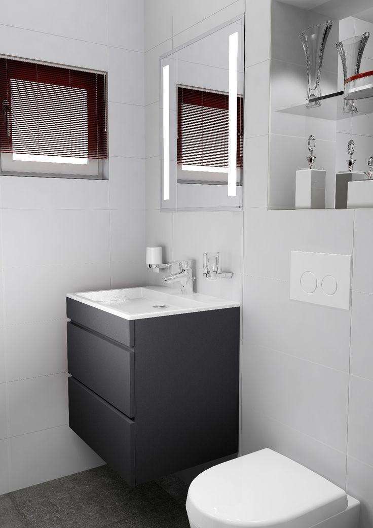 Kleine badkamer met wastafelmeubel en naast het inbouwreservoir ingebouwde spiegelkast. 360 view op Sani-bouw.nl