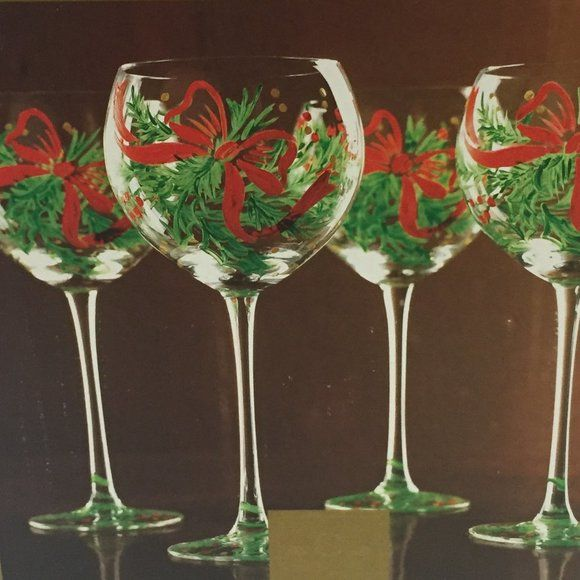 Goblet for Tealight Glass Red Christmas Hand Painted