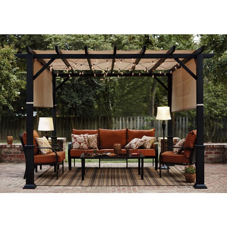 Shop Garden Treasures 134-in W x 134-in L x 92-in H x Matte Black Powder Steel Freestanding Pergola with Canopy at Lowes.com