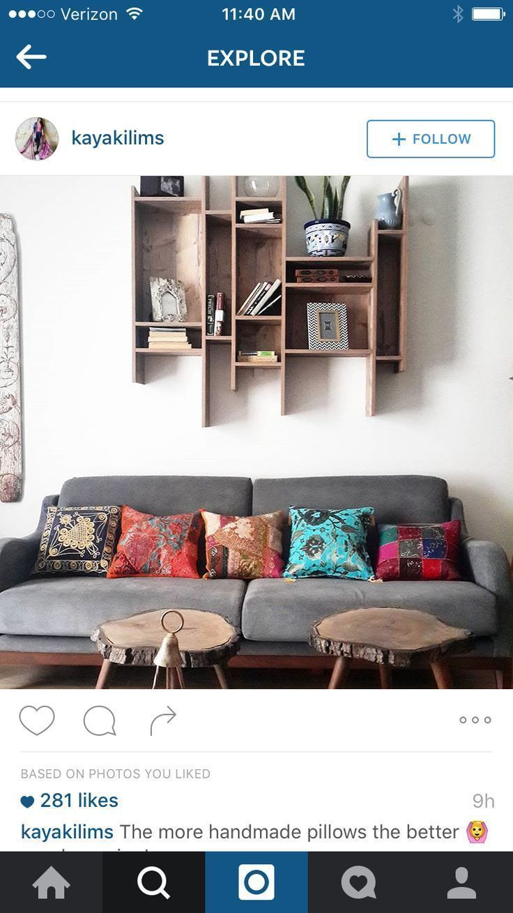 Above couch shelving – #abovecouch #couch #shelvin…