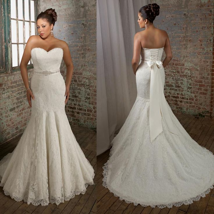 Strapless Sweetheart Mermaid Plus Size Bridal Dress