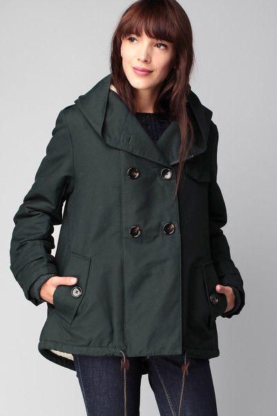 Manteau 3/4 zippé vert Sandison Sessun sur MonShowroom.com