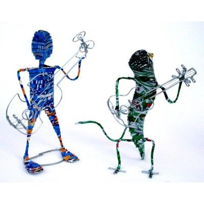 2 MAN BAND SCULPTURE Hand Made From RECYCLED SODA CANS AND WIRE -Made in AFRICA