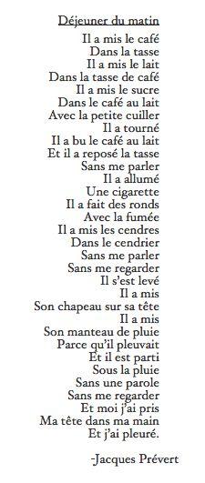 """Ah... Prévert! Paris, la plus, un cafè... """"Dejeuner du Matin"""" - Jacques Prévert ~ ~ the rain, a coffee, a cigarette, a morning in Paris... / <3"""