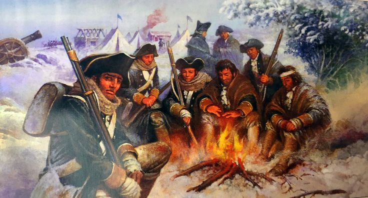 US Continental Army camping at Valley Forge
