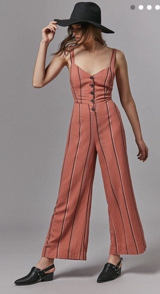 7a4c54a11fe8 Urban Outfitters Womens XS Ashley Button Down Tie Back Jumpsuit Peach   UrbanOutfitters  Jumpsuit  Casual