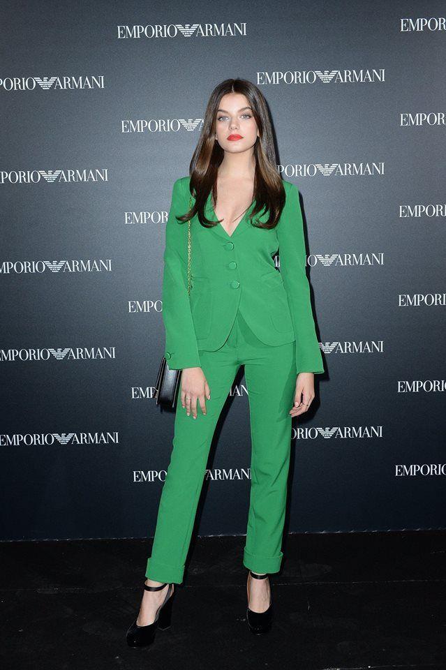 Beautiful Sonia Ben Ammar in #EmporioArmani during the #EALiveInParis show.