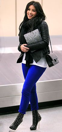 J Brand 811 jeans in Bright Royal Blue, studded booties, plain white tee, black scarf, & black fitted leather jacket