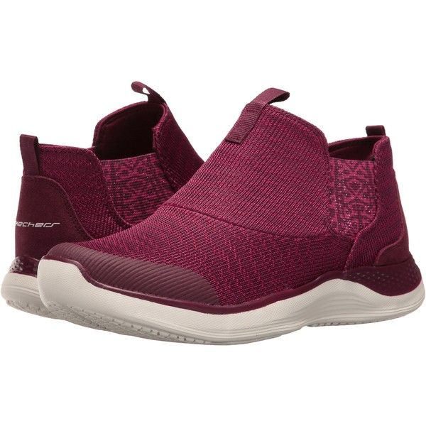 SKECHERS Knit Chelsea Slip-On Bootie (Burgundy) Women's Pull-on Boots ($42) ❤ liked on Polyvore featuring shoes, boots, ankle booties, burgundy, bootie boots, pull on boots, knit booties, slip on boots and faux-fur boots