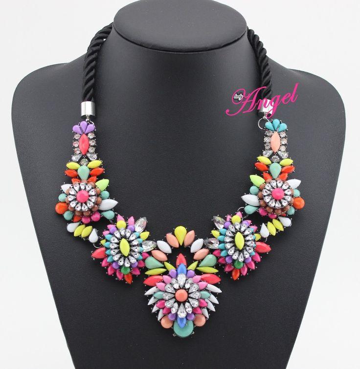 marca de moda de joyería nueva llegada 2014 shourouk flor del arco iris de piedra collar de colgantes para