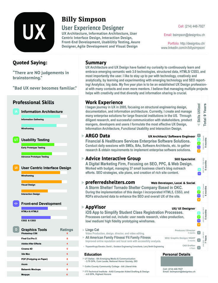 Best Ux Designer Resume Images On   Resume Ux