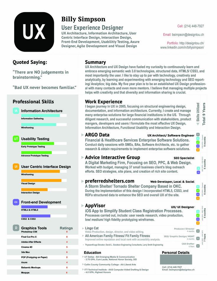 find this pin and more on ux designer resume - Ux Designer Resume