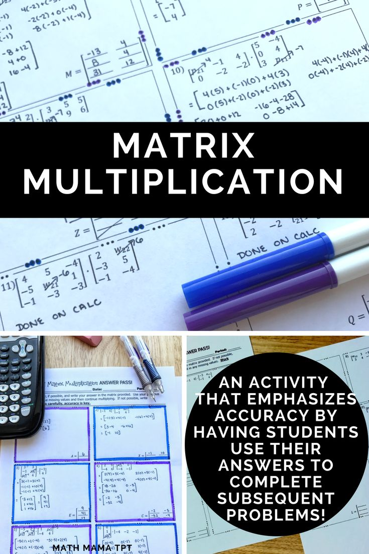 Looking for an activity to give your students some practice with matrix multiplication?  In this self-checking resource, students will use their knowledge of multiplying matrices to to find the product of two matrices and determine when matrix multiplication is undefined.  What are you waiting for?!  Click through to look at this activity in closer detail!