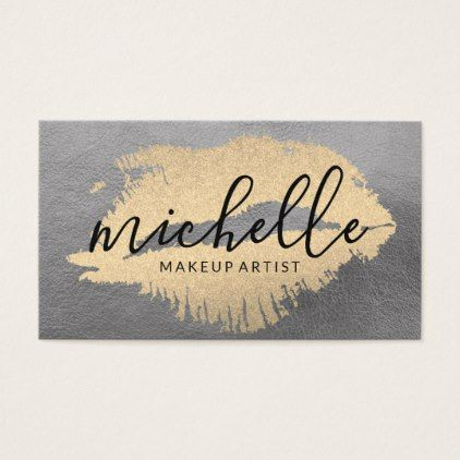 Chic Gold Kiss Business Card - makeup artist business customize diy