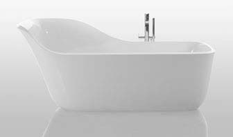 A fresh take on the slipper tub, Wanda is made from Ceramilux, a glossy mineral-resin composite that achieves shapes and thicknesses not possible with ceramics. The swooping backrest creates an intimate bathing experience that still lets you stay mindful of your surroundings. Plus, it's roomy enough for two.