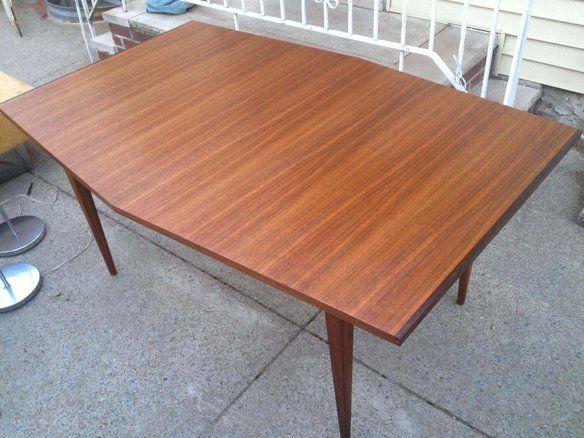 Modern Teak Dining Table W 2 Leaves 106
