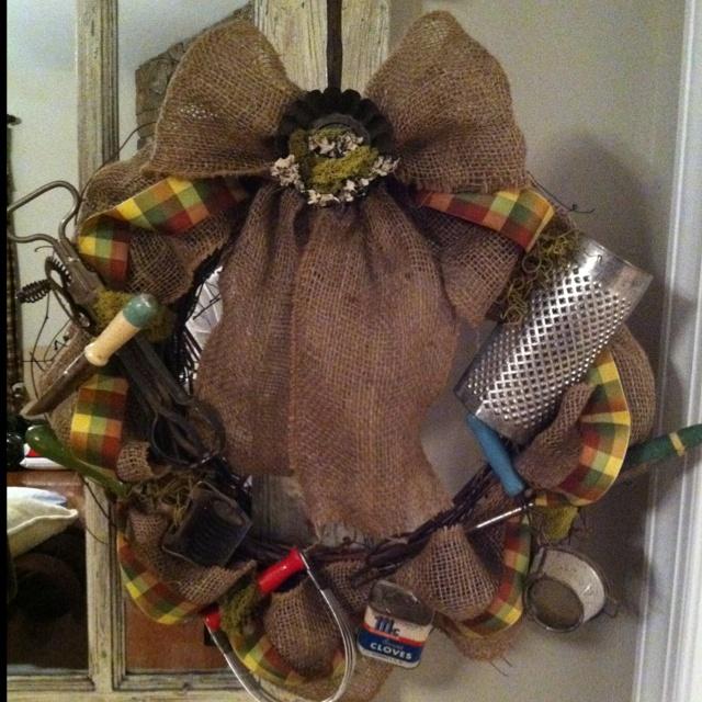 Vintage Kitchen On Pinterest: Burlap Vintage Kitchen Utensil Wreath