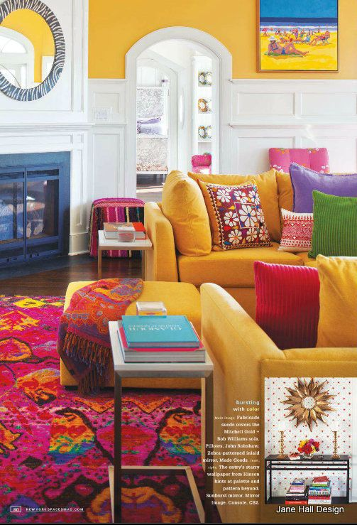 Bohemian style living room from New York Spaces, amazing colours - sofa, rug, wall, pillows