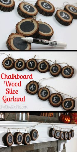 Personalized Chalkboard Wood Slice Garland. So easy and affordable to make, all you need and a fallen tree branch, some Rust-Oleum Chalkboard paint, and twine! http://www.rustoleum.com/product-catalog/consumer-brands/specialty/chalkboard-brush-on/