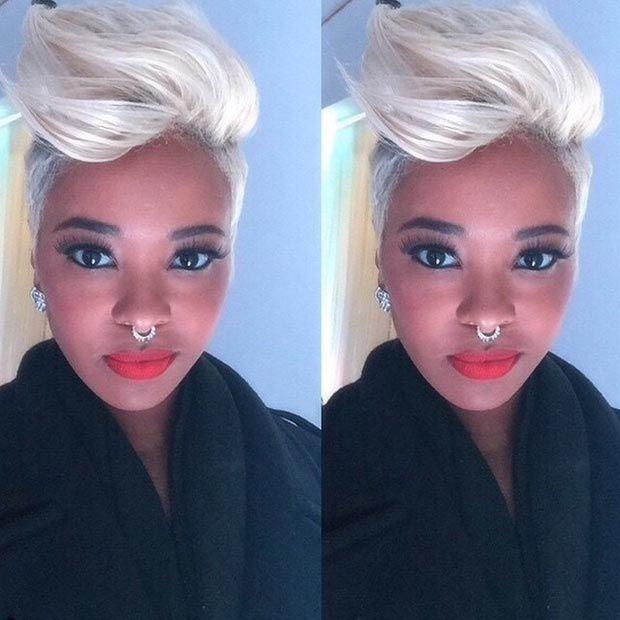 50 Short Hairstyles For Black Women Pompadour Platinum