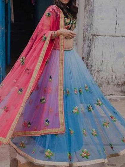 Sky Blue Net Party Embroidered Lehenga