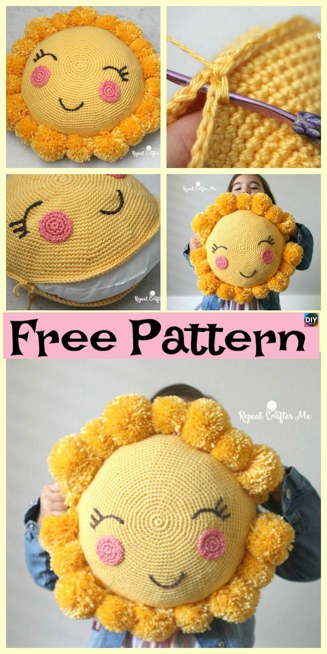 295fe3e46f045 Crocheted Sunshine Pillow – Free Pattern  freecrochetpatterns  pillow