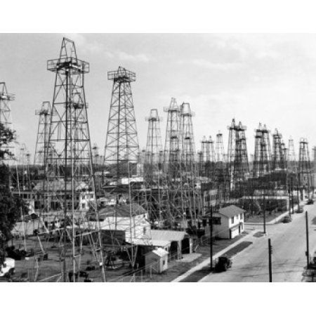Oil drilling rigs at an oil industry Kilgore Texas USA Canvas Art - (18 x 24)