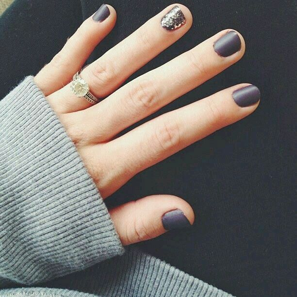 Short matte nail design manicure idea. Violet - gray (looks like it, if not I just made up a new nail color :) with glitter sparkle nail on wedding ring finger. Great for Fall / Winter.    G;)                                                                                                                                                                                 More