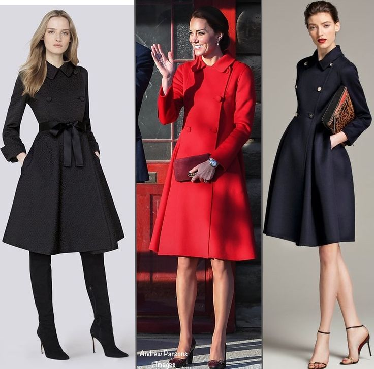 """The Duchess wore a CH Carolina Herrera coat. The coat is new season CH Carolina Herrera, it only recently arrived in-store. It has a classic Herrera silhouette and design elements: a fitted bodice and full skirt, pockets at the hip, double-breasted styling and a Peter Pan collar. For a reference point on how """"classic"""" the piece is, the coat on the left is from 2014, and the navy coat on the right is from 2013."""