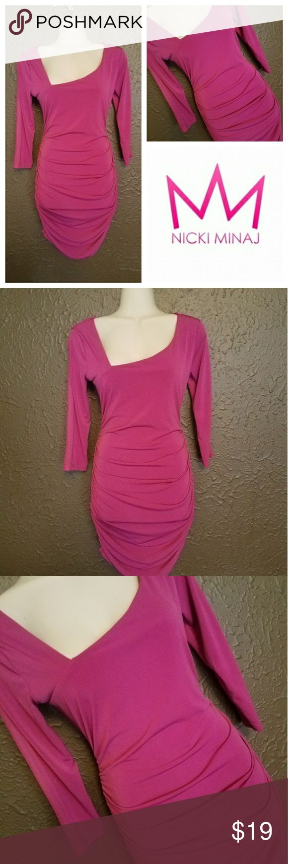 NWT | Nicki Minaj | M | Fuschia Dress Sheer panel on back and part of arms (shown in photo). New w/ tags. Fuschia Dress w/ plenty of stretch. Nicki Minaj Dresses