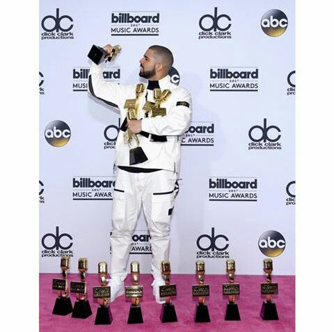 May 21, 2017: Drake with 13 of his awards from the BBMA's