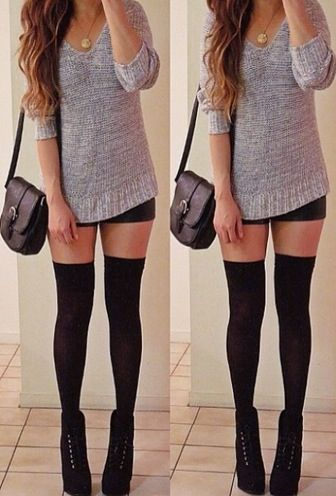 ❤ Sweater. I ℒℴvℯ the classic black over the knee socks with black shoes. So simple but so yes. Yes? ❤