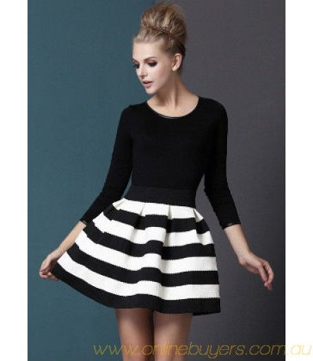 Black White Striped Three Quarter Length Sleeve Stripe Dress