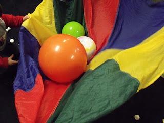 Simple ideas for parachute play...