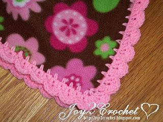 Crochet edging on fleece for a baby blanket--good directions here