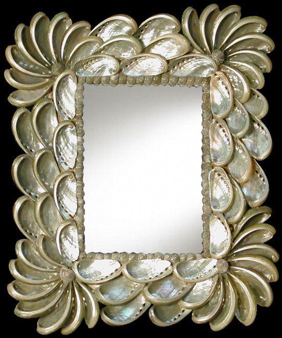 Haliotes Shell Mirror by SunCoastShells on Etsy, $25.00