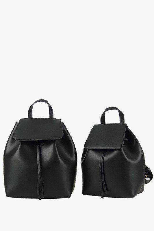 Fancy - Black Genuine Leather Large Bucket Backpack
