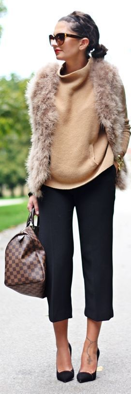 Daily New Fashion : Best Women's Street Fashion for Fall/Winter. Fur Vest, Camel Sweater; crop pants and heels - no, no...NO