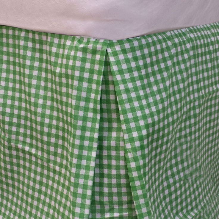 Bright Green Plaid Twin Bedskirt Geometric Bedding Accessory