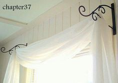 FB post - GENIUS!  Great idea~ Plant hangers for holding up curtains!   http://blog.chapterthirtyseven.com/all-the-details-of-the-guest-room-makeover/