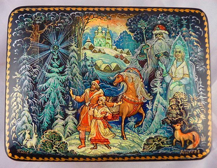 """LACQUER BOX PALEKH RUSSIA """"SNEGUROCHKA (SNOW MAIDEN)"""" FAIRYTALE #Palekh"""